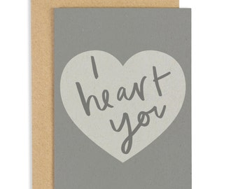 I Heart You Card - Valentine's greeting card - CC152