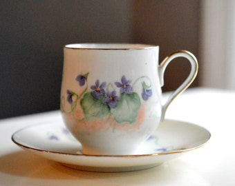 Tea Cup and Saucer Hand Painted Violets Artist Signed