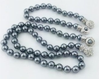 Nolan Miller Pearl Necklace SET - Steel Gray 8mm with Fancy Clasp - S1994