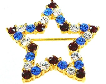 Joan Rivers Pin - Patriotic Star Pin - Red White and Blue - S1829