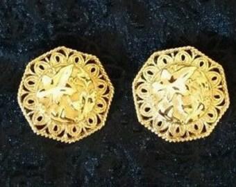 Jose Barrera Clip On Earrings - Falling Leaves Gold Tone - S1848
