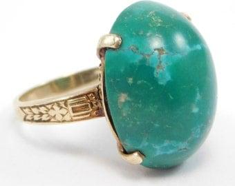Art Deco 14K Persian Turquoise Ring Beautiful