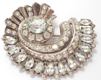 Large Ornate Sterling Eisenberg Rhinestone Brooch