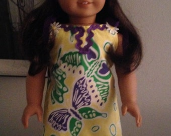 Lilly Pulitzer Yellow Shift Dress with Purple and Green Butterflies for American Girl Dolls