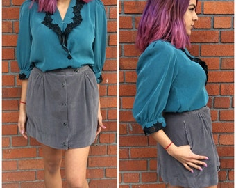 "1970's Corduroy Stormy Grey Mini Skirt / 29.5"" waist / The Petite Idea / 70's Hipster A line Flare"
