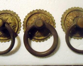 Victorian Brass Embossed Ring Pulls Circa 1870,s - 1900 Set of 3