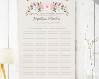 Printable Quaker Marriage Certificate - Wedding Guest Book Alternative - Marriage Contract - Rustic Guest Book  DIGITAL - The Bailey