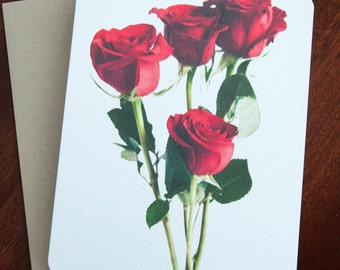 Red Rose Stems Note Card Set, Gift for Her