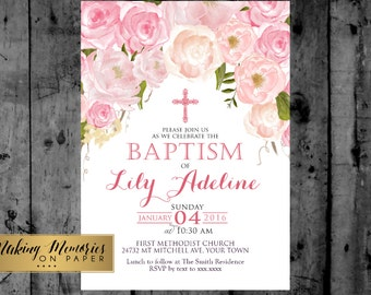 Pink Floral Baptism Invitation. Pink Watercolor, Pink Roses Baptism, Christening, Dedication ,First Communion. Girl Baptism
