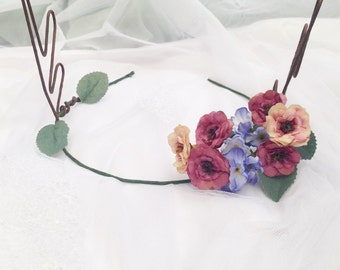 Woodland Pink Pansy Rose Flower Rose Deer Antlers Hair Wreath Festival Crown Head Band Dress up Deer