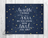 Twinkle Twinkle Little Star Do You Know How Loved You Are - Nursery Art, Playroom, Watercolor Stars, Moon, Song Lyrics Typographic Art Print