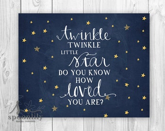 Twinkle Twinkle Little Star Do You Know How Loved You Are Nursery Art, Playroom Decor, Yellow Stars, Twinkle Twinkle Little Star Poster