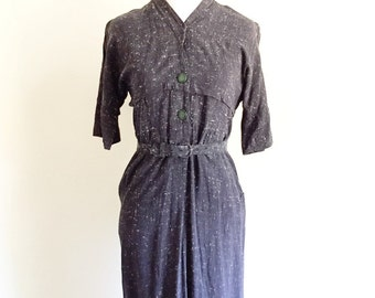 1940s Gray Dress with Green Buttons