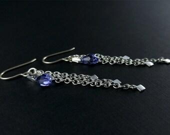 Tanzanite Earrings - Swarovski Crystal Earrings - Long Silver Earrings - Chain Earring - Purple Earrings - Fringe Earrings - Diamond Charm