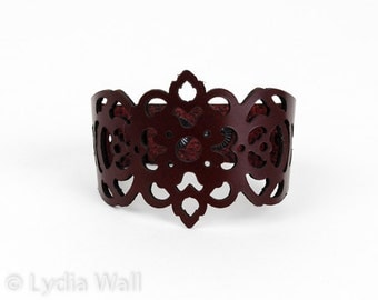 "Laser Cut Leather Bracelet -""Clover"" in Dark Burqundy"