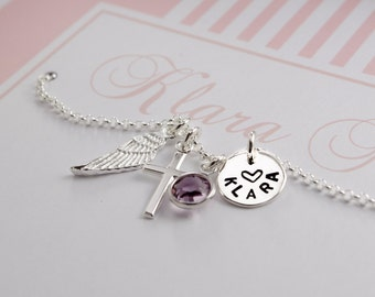 Name necklace with engraving, cross, wings, birthstone, christening necklace with gift box