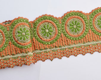 Lace Trim, Embroidered Lace, Embroidery Lace Trim, Border, Indian Style, Geometric, Floral, Orange, Green, Gold - 1 meter