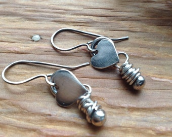 Hearts and tears silver dangle earrings