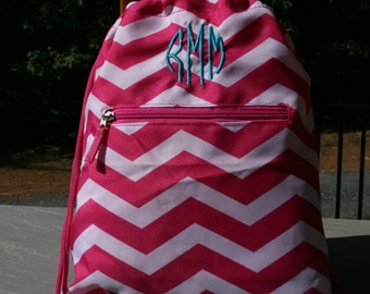 Girls Monogrammed Drawstring Gym Bag Pink Chevron Personalized Cinch Bag