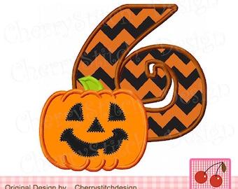 "Jack O'Pumpkin number 6,Halloween Pumpkin Machine Embroidery Applique Design - 4x4 5x5 6x6"""