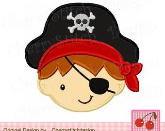 Pirate boy Machine Embroidery Applique DesignBG0030 -4x4 5x5 6x6 inch