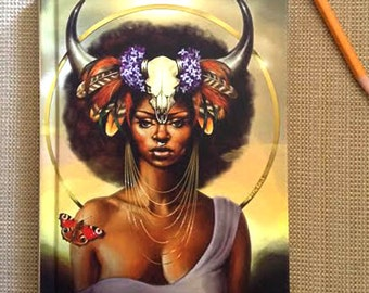 Journal, Diary, Hardcover Notebook, Taurus, Zodiac, African American Art, Black Woman, Goddess, Afrofutrism, Natural Hair, Fantasy