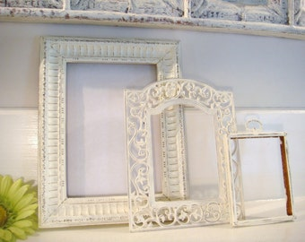Distressed frames, white frames, picture frame collection, shabby chic frames, ornate frame, upcycled frames, nursery decor