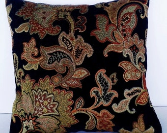 Luxurious Tapestry Decorative Pillow 16 x 16  Black Background