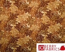 Brown Fern Fabric, Sew Rousseau by Maria Kalinowski for Kanvas with Benartex, Quilt or Craft Fabric, Fabric by the Yard
