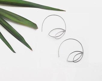 Sterling silver leaves, Silver leaf light earrings, Thin circle earrings, Silver hoop earrings, Minimalist jewellery, Silver jewellery