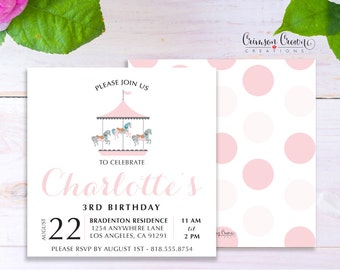 Carousel Child's Birthday Invitation - Baby, Toddler, Kid's Merry Go Round Birthday Party Invite - Horse Party - Digital File