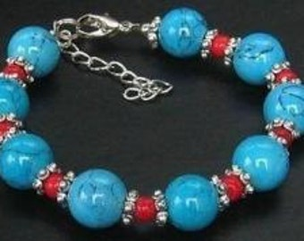 Turquoise Coral Beaded Bracelet