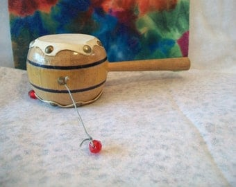 Vintage Native Peruvian Indian Spin Drum TomTom Percussion Instrument
