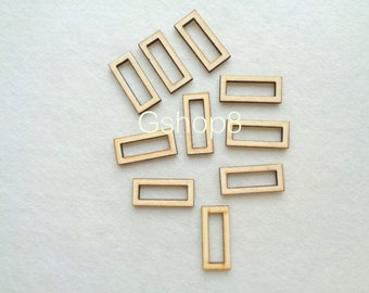 Rectangular Tile for Jewelry, Geometric Jewelry,10 Laser cut wood Geometric Pendants,