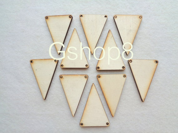 Wood Triangles Ready to be Painted,10 Unfinished Wood Triangles Tile for Jewelry, Geometric Jewelry,