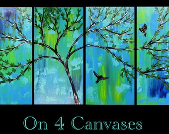Green Wall Art large tree painting wall art red green hills blue sky modern