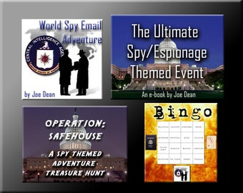 4 Spy Party Downloads - Spy Bingo, Treasure Hunt Puzzles and more - for a great Spy or James Bond Party!