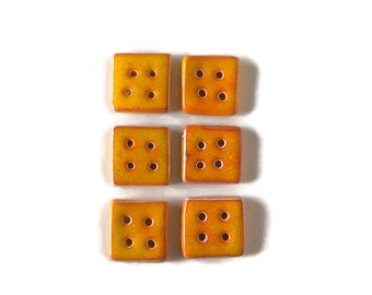 Buttons- Ceramic orange buttons- 2.5 cm/0.98in square sewing buttons-  Craft supplies. Handmade original button. knitting accessories.