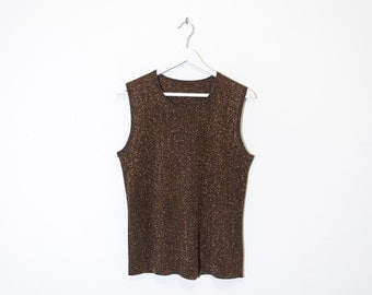 on sale - brown sparkly ribbed tank top / shimmery sleeveless knit top / size L