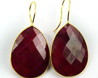 22k Gold Plated Natural Ruby Checker Cut Gemstone Earrings Tear Drop Shape, 23x45mm Birthstone Dangle Earrings (RBER-90090)