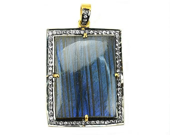 Gold Vermeil Labradorite Cabochon with White Topaz Pave Diamond Setting Gemstone Necklace Pendant (WTLB-40021)