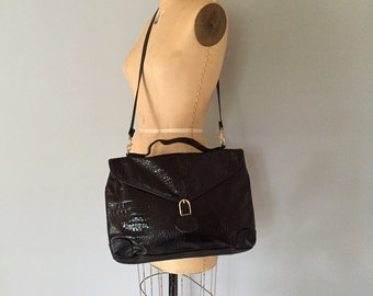 large crocodile leather tote / messenger bag / black leather / xl