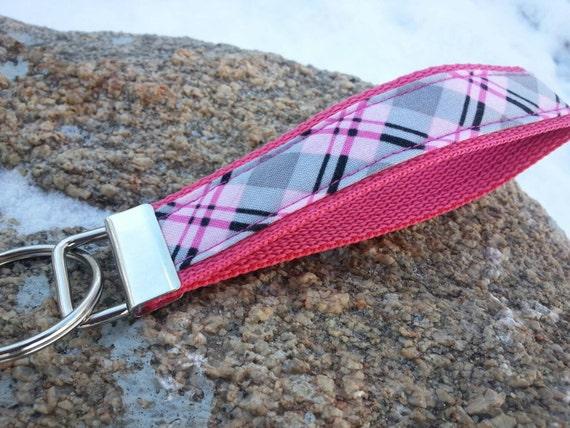 Pink Plaid Keychain Wristlet