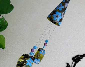 Wine bottle windchime, Amber wind chime, Blue and Lavender flowers, yard art, patio decor, recycled bottle wind chime, hand painted chime
