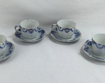 Set of Four (4) Flow Blue Demitasse Coffee Cups, Anita by Ridgways