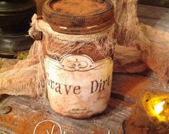 Primitive Witchy Salem Halloween Grave Dirt Grungy Jar