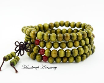 108 Mala Bead, Sandalwood Mala Bracelet, Buddhist Bracelet, Wood Bracelet, Beaded Bracelet, Prayer Bracelet, Mala Beads,Green Mala Bracelet