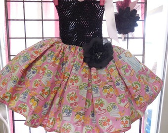 Day of the Dead Tutu Costume, Pink Skulls, Size Large