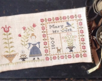 Primitive Cross Stitch - Mary's Work Sampler Bag - Pattern Only or Pattern w/Floss Kit