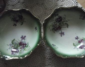 SALE Large Pair of Victorian Bowls, Porcelain Bowls, Antique Fruit Bowls